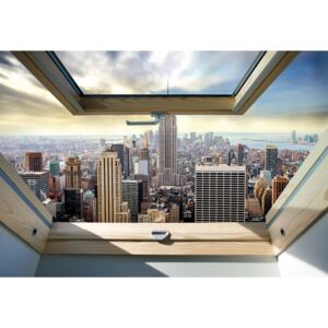 Fototapeta, Tapeta New York City Skyline 3D Skylight Window View, (104 x 70.5 cm)