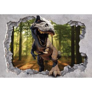 Fototapeta, Tapeta Dinosaur 3D Jumping Out Of Hole In Wall, (104 x 70.5 cm)
