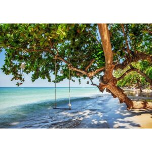 Fototapeta, Tapeta Tropical Island Beach Swing, (104 x 70.5 cm)