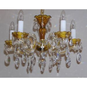 5 flames Colored Maria Theresa crystal chandelier with cut almonds - AMBER glass