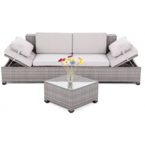 Sofa Milano 2 v 1 z technoratanu Grey / Light Grey