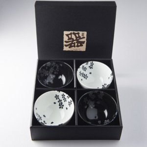 MIJ Set misek Black & White Sakura 260 ml 4 ks