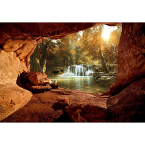 Fototapeta, Tapeta Lake Forest Waterfall Cave, (104 x 70.5 cm)