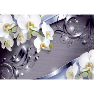 Fototapeta, Tapeta Luxury Ornamental Design Orchids, (104 x 70.5 cm)