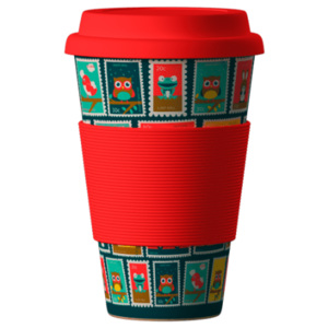 Eco Bamboo Cup Postmarks red 400 ml