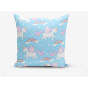 Povlak na polštář s příměsí bavlny Minimalist Cushion Covers Blue Background Unicorn Rainbows, 45 x 45 cm