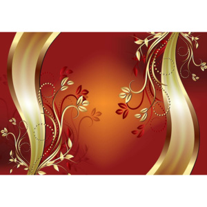 Fototapeta, Tapeta Luxury Ornamental Floral Design Orange, (104 x 70.5 cm)