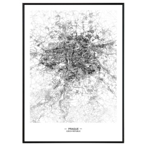 Prague map - 50x70 cm Obraz