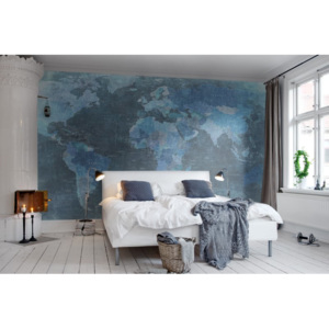Tapeta Rebel Walls - World Map, Blue